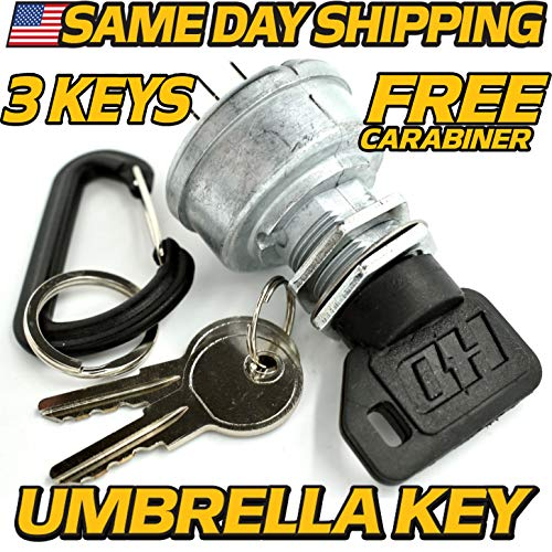 John Deere Starter Ignition Key Switch EZTrak Z225, Z245, Z425, Z445, Z465, Z645, Z655, Z665 - Upgraded Key & Free Carabiner - HD Switch