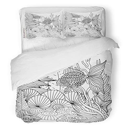 Semtomn Decor Duvet Cover Set Twin Size Underwater Doodle Marine Life Pattern Zentangle Wavy Coloring Page 3 Piece Brushed Microfiber Fabric Print Bedding Set Cover
