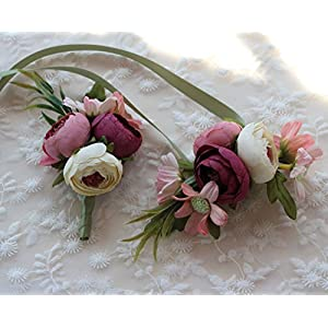 Artificial Peony Buds Flower Wrist Corsage and Boutonniere Set for Wedding Party Prom Homecoming, Pink 27