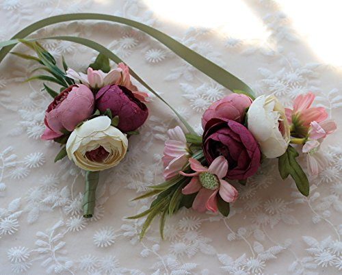 Artificial Peony Buds Flower Wrist Corsage and Boutonniere Set for Wedding Party Prom Homecoming, Pink ()