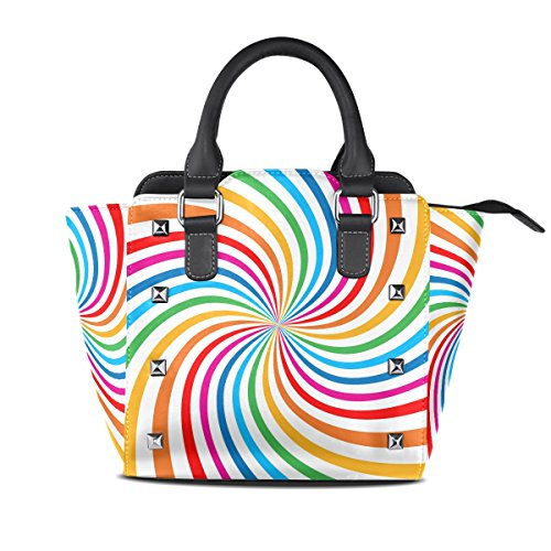Women's Spiral Tote Colorful Bags Leather Shoulder TIZORAX Rainbow Bright Handbags RIqFxUIwO