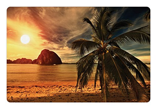 Ambesonne Ocean Pet Mat for Food and Water, Havana Beach Sunny Tropics Mountains Rocks and Coconut Palm Trees, Rectangle Non-Slip Rubber Mat for Dogs and Cats, Orange Light Brown Dark Green ()