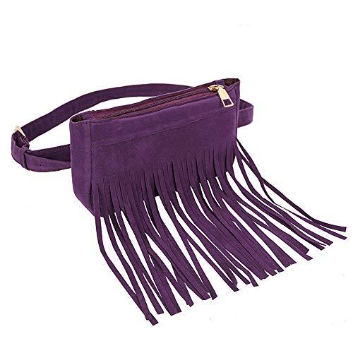 Handbag Women Purple Hobo Bag Messenger Messenger Women Tassel Hippie Bags Bag Tassels Iuhan Clearance Bag Women's Fringe Suede Black Chest Waist qnUwRg77x