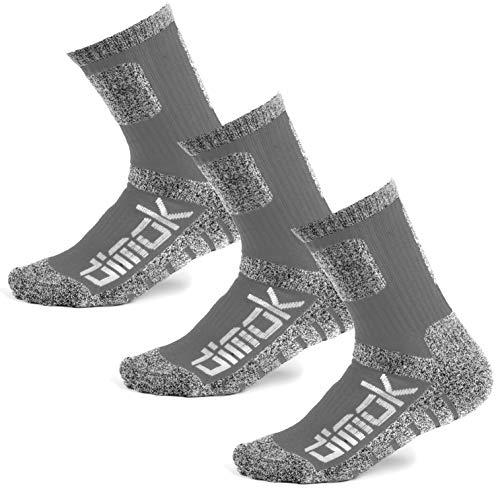 Warm Socks for Men Hockey Hiking Athletic Moisture Wicking Trekking Sports Crew Winter Sock Mens Women Boys (Large, Grey)