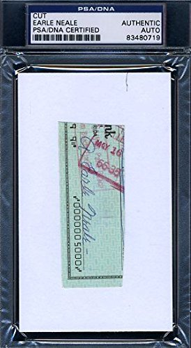 Earle Greasy Neale PSA/DNA Signed Autograph 3X5 Check Cut