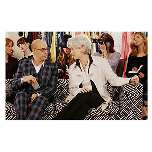 The Devil Wears Prada 8x10 Photo Meryl Streep in Black & White & Stanley Tucci in Plaid on Black & White Couch - Black Pradas And White