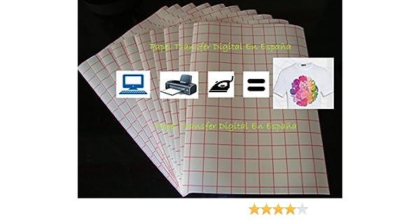 10 HOJAS DE PAPEL TRANSFER INKJET A4 TEJIDOS BLANCOS Y CLAROS: Amazon.es: Oficina y papelería