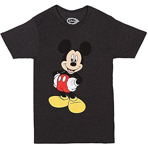 Disney Men's Mickey Wash Short Sleeve T-Shirt, Charcoal Heather, Medium (Adult Disney Characters)