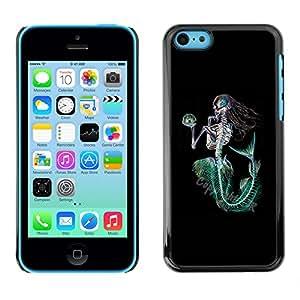 Paccase / SLIM PC / Aliminium Casa Carcasa Funda Case Cover - Mermaid Death Skeleton Black Green - Apple Iphone 5C