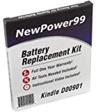 Kindle D00901 (Kindle 3 Keyboard) eReader Battery Replacement Kit with Video Installation DVD, and Extended Life Battery.