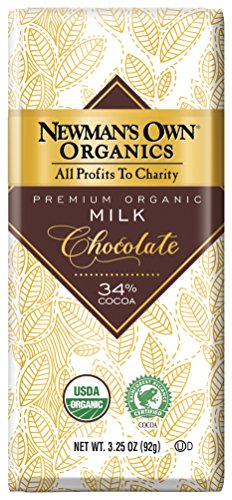 Newman's Own Organics Organic Premium Chocolate Bar, Milk 34% Cocoa, 3.25-Ounce Bars (Pack of 12)