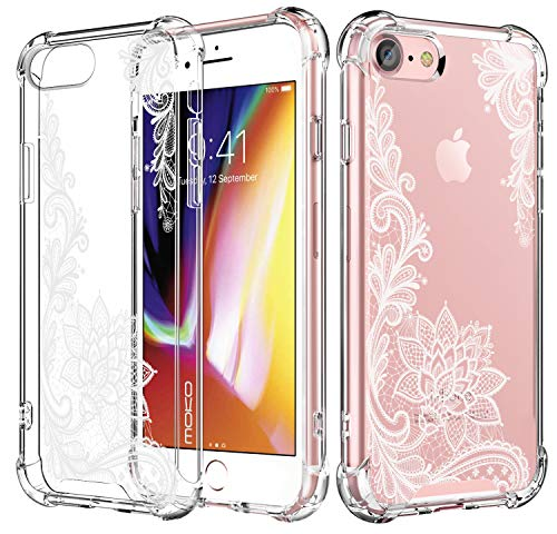MoKo Compatible with iPhone 7 Case/iPhone 8 Case, Crystal Clear Reinforced Corners TPU Bumper Cushion + Hybrid Rugged Transparent Panel Cover Fit with Apple iPhone 7/8 - Crystal Lace