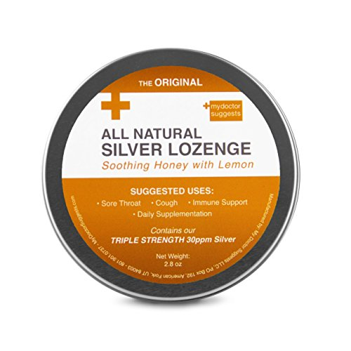 Throat Sore Natural Lemon (Original All Natural Silver Lozenges - Soothing Honey with Lemon: The Perfect Cough Drop for Cough, Throat & Mouth Health and Immune Support - Contains 30ppm Silver Solution in Each Drop)