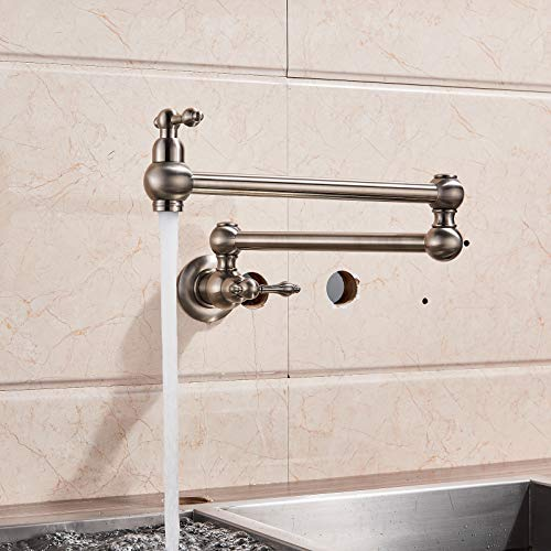 Votamuta Pot Filler Folding Stretchable Double Joint Swing Arm Brushed Nickel Wall Mount Kitchen Faucet, Single Hole Two Handle Kitchen Sink Faucet -  vo2018080912