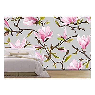 Vector Seamless Floral Pattern Magnolia Flowers and Leaves...100