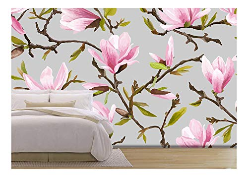 wall26 - Vector - Seamless Floral Pattern. Magnolia Flowers and Leaves Background. Exotic Flower. Vector - Removable Wall Mural | Self-Adhesive Large Wallpaper - 100x144 inches