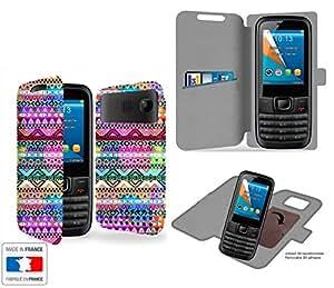 Funda Carcasa Bouygues Telecom BC 101 Aztec Colors Tribal Collection Pattern de almacenamiento innovadoras con tarjeta de la puerta interna - Estuche protector de Bouygues Telecom BC 101 con fijación adhesiva reposicionable 3M