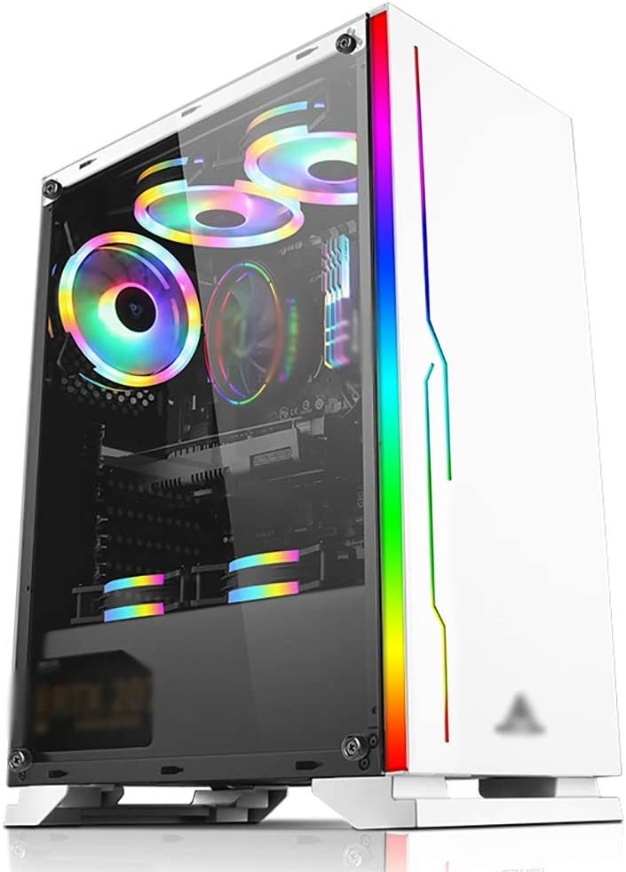 WSNBB Gaming Case Mid-Tower ATX//M-ATX//ITX PC Gaming Computer Case,Tempered Glass,for Desktop PC Compute,White