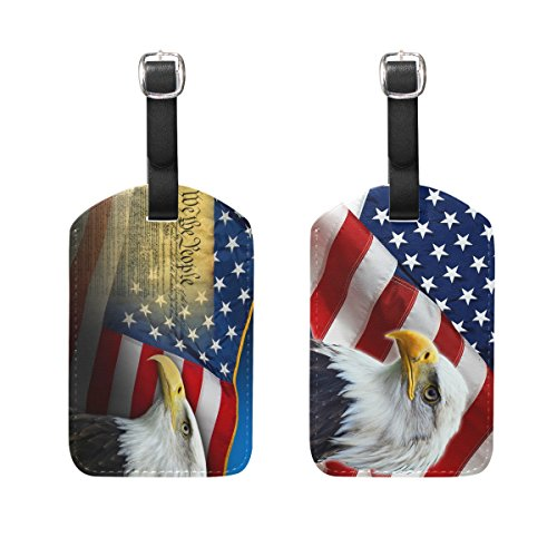 Set of 2 American Eagle Usa Flag Pu Leather Luggage Labels ID Tags Travel With Straps ()