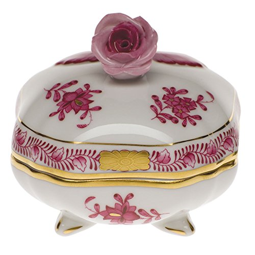 Herend Chinese Bouquet Raspberry Covered Bonbon With Rose - Rose Soup Cream Saucer