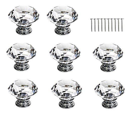 BTMB 10 Pcs Dia 30mm/1.2 Inch Crystal Glass Cabinet Knobs Diamond Cupboard Drawer Pull Handle