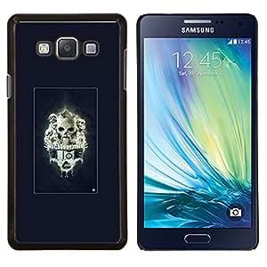 KLONGSHOP // Cubierta de piel con cierre a presión Shell trasero duro de goma Protección Caso - Pesadilla Skulls - Samsung Galaxy A7 A7000 //