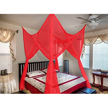 Octorose R Vivid Red 4 Poster Bed Canopy Functional Mosquito Net Full Queen King