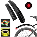 Bike Retractable Fender Flap with Rear LED Tail Light and Reflective Stickers/Strip, Adjustable Bicycle Fenders Road Mountain Front Rear Mudguard/Mud Guards, Fit for 14'' 18'' 20'' 22'' 24'' 26 inches