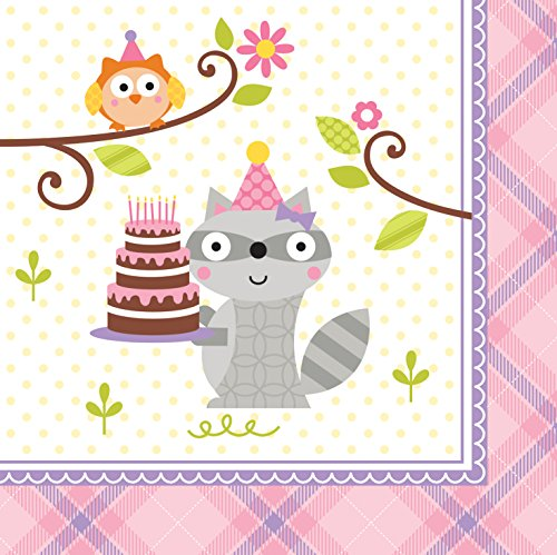 Creative Converting 16 Count Beverage Napkins, Happi Woodland-Girl