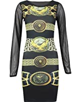 Fashion Wardrobe Women's Eagle Belted Print Mesh Sleeve Bodycon Dress