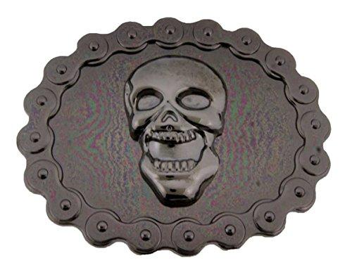 - Skull Crossbones Head Swords Gun Grim Unisex Men's Halloween Costume Belt Buckle (Skull Bike Chain Size: 3.50