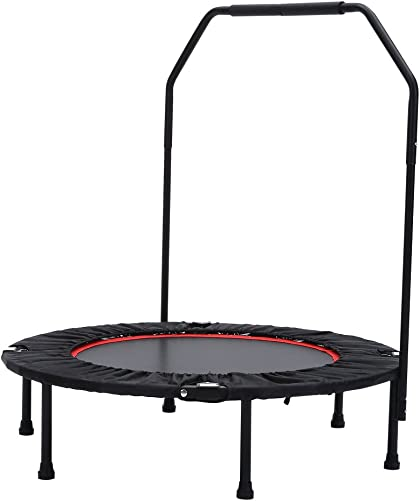 Seatopia 40 Trampoline Fitness with Adjustable Handrail Bar Portable Silent Bounce Cardio Workout Indoor Outdoor Fun for Adults Kids, Max Load 300 lbs
