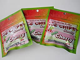 New! Ice Chips Candy in Resealable Packets, Sour Cherry - 3 Pack