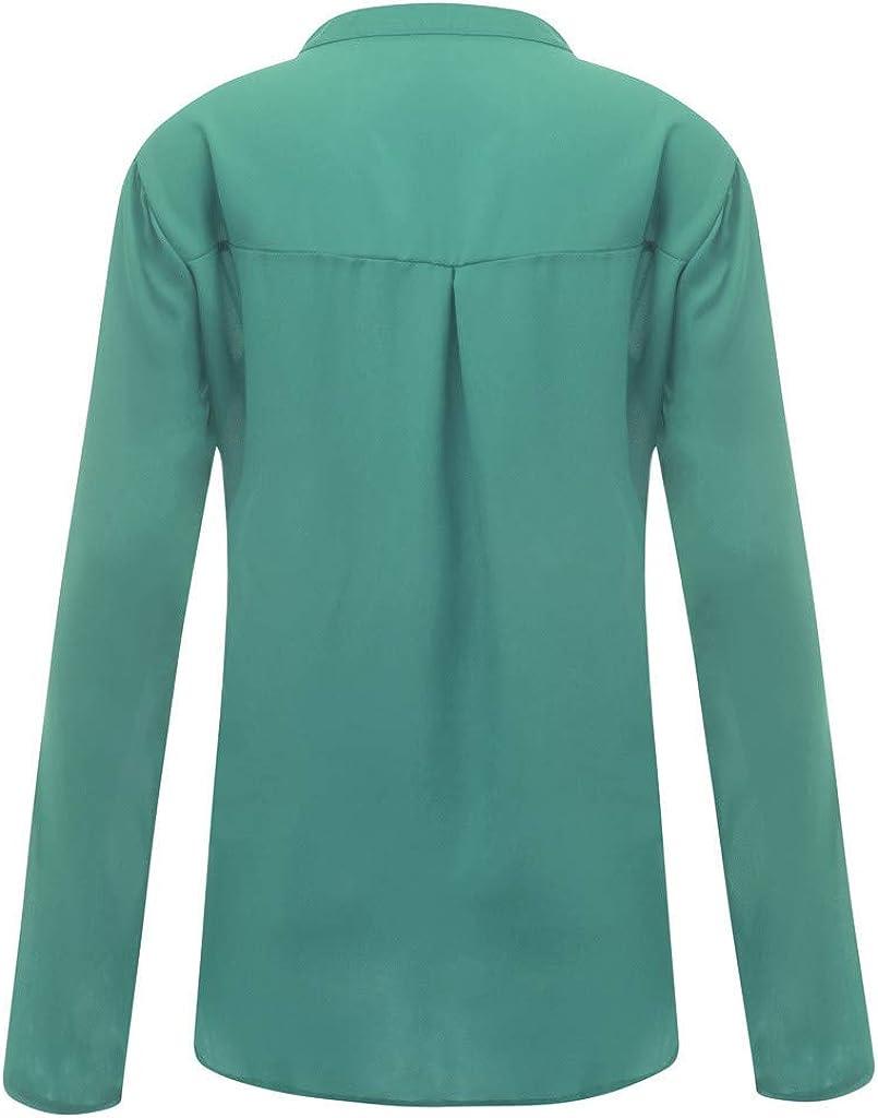 Momoxi Donne Camicette Manica Lunga Pieghe Chiffon con Scollo V Colore Puro Camicia Blusa Primavera Estate Top Loose