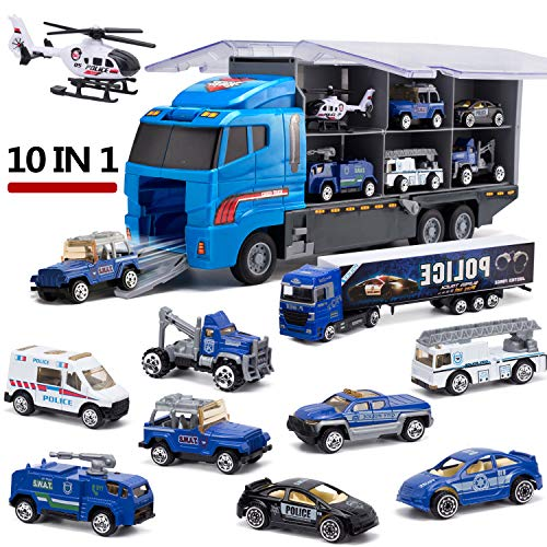 (CHIMAGER 10 in 1 Police Transport Truck, Mini Die-Cast Plastic Play Vehicle in Carrier Car Toy Set, Mini Cars for Kid Children Boy and Girl Best Gift for Birthday Party Favors Christmas)