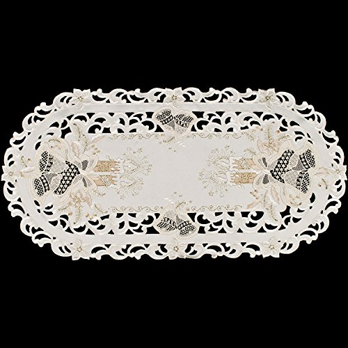 Linens, Art and Things Embroidered Metallic Gold Candle on Ivory Table Runner Dresser Scarf 14 x 27 Inches