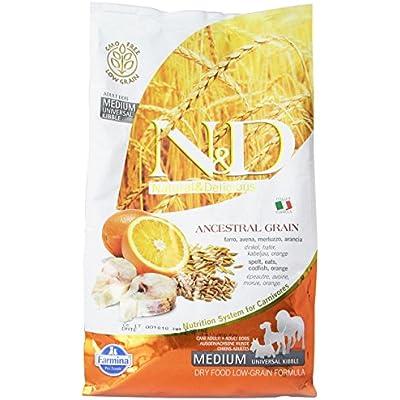 Farmina Natural And Delicious Low-Grain Formula Dry Dog Food, 5.5-Pound, Cod And Orange