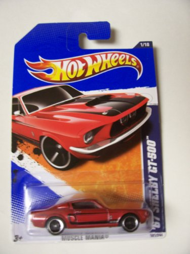 Hot Wheels 2011 Muscle Mania 1/10 '67 Shelby GT-500 101/244 Red with Black (Shelby Gt500 Replica)