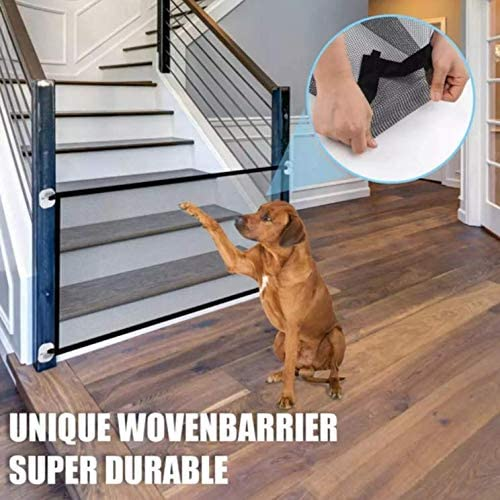 Genie Wholesale Pet Magic Safety Gate Portable Folding Mesh Dog Gate Safe Guard Install Anywhere for Hall Doorway Stairs Height 72cm* Width 180cm-Black