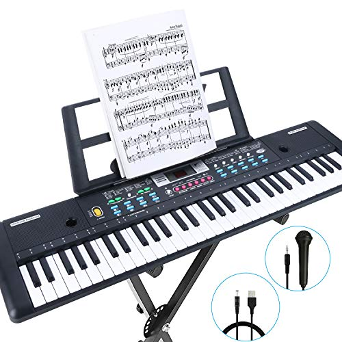 RenFox 61-Key Keyboard Piano with Microphone & Music Stand Portable Electronic Kids Piano Keyboard for Beginners 22.9×7.9×2.3 Inch
