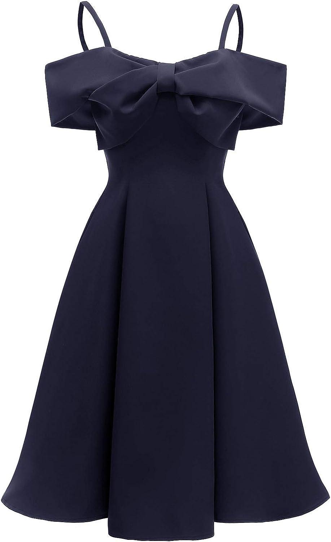 Jacansi Damen Off Shoulder Kleid Elegant Festlich Partykleid
