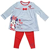 Girls Disney Minnie Mouse Stripe Dress Top & Leggings Set Sizes from Newborn to 18 Months