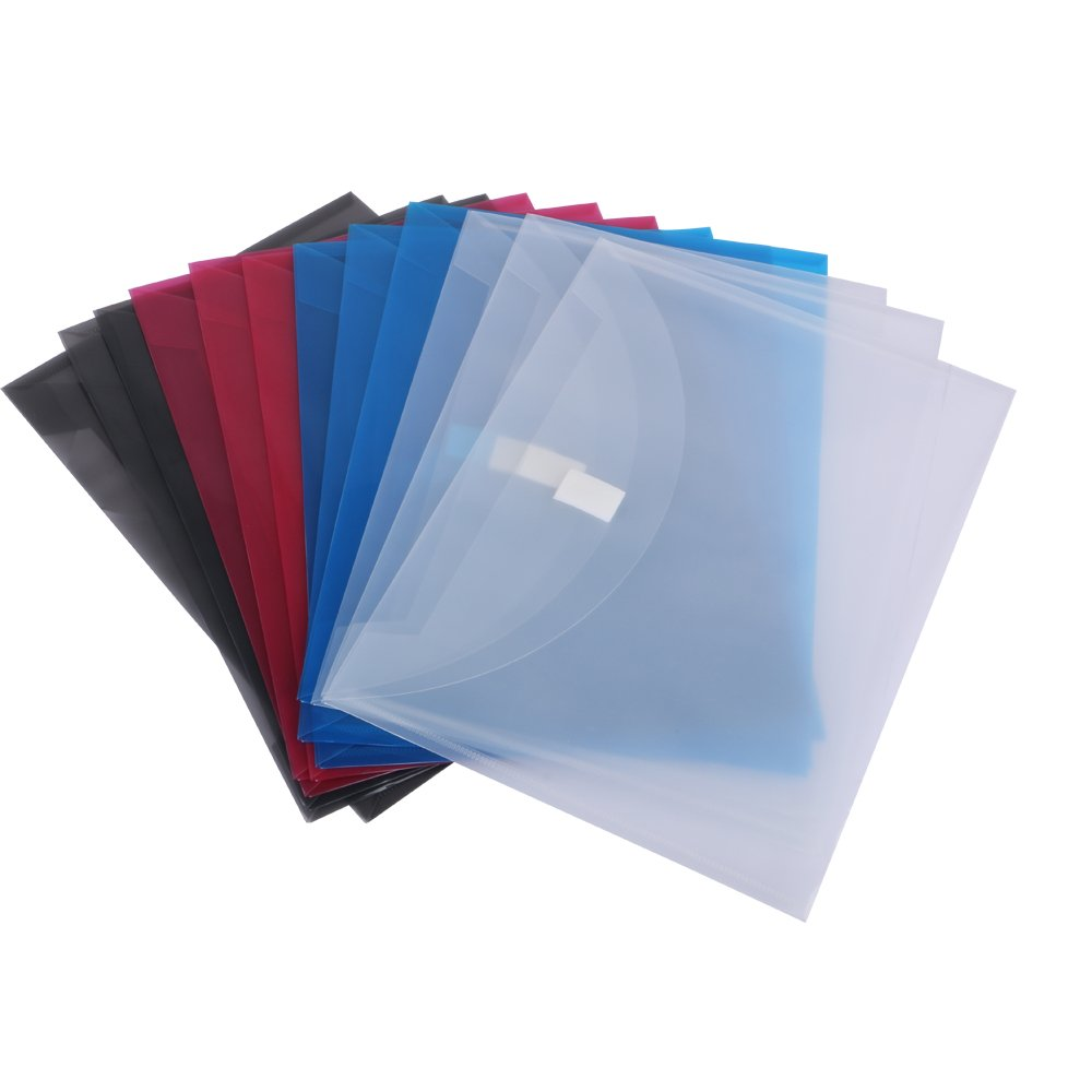 Eagle Reusable Poly Envelope, Side Load, Letter Size, Assorted Colors, Pack of 12