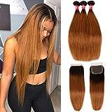 Haha Ombre Brazilian Straight Hair 3 Bundles with Closure 8A Ombre Hair Bundles With Closure 2 Tone T1B/30 Black to Medium Auburn Human Hair Weave Bundles with Lace Closure 20 22 24+18