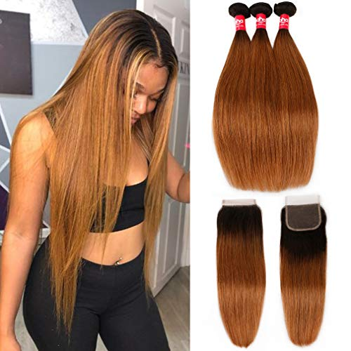 Haha Ombre Brazilian Straight Hair 3 Bundles with Closure 8A Ombre Hair Bundles With Closure 2 Tone T1B/30 Black to Medium Auburn Human Hair Weave Bundles with Lace Closure 22 24 26+20 (Best Ombre Hair For Black Hair)