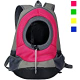 Dog Carrier, YAMAY® Pet Cat Carrier Bag Front Pack Backpack for Small Dogs Girl Boy Leather + Nylon Mesh Hands Free Soft Sided Head Out Shoulder Travel Bag Hands Free for Bicycle Bike Car Hiking