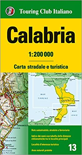 Road Map Of Italy In English.Calabria Road And Tourist Map English Spanish French Italian