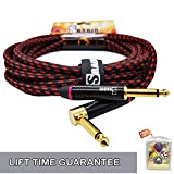 SRADIO Guitar Instrument Cable 10 Foot, AMP Cord Right Angle 1/4-Inch TS to Straight 1/4-Inch TS Guitar Cable 10FT with Red Tweed Cloth for Electric Guitar,Bass,Keyboard