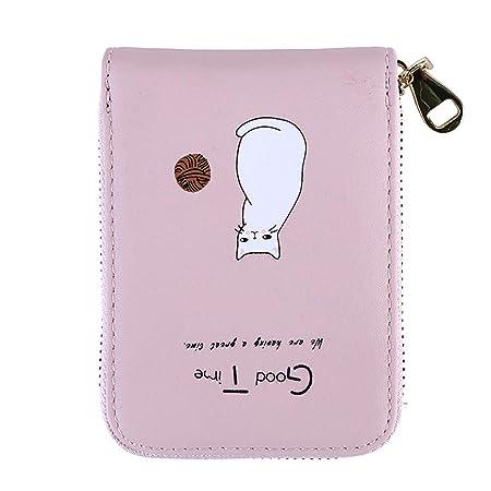 LWANFEI - Tarjetero, diseño de gato, piel sintética, rosa ...