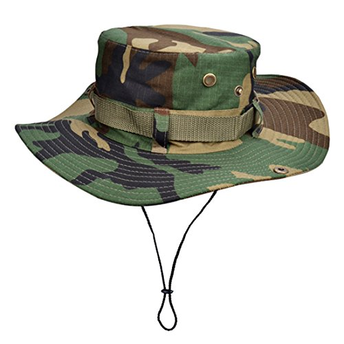 Protection Cowboy Sun (Unisex Camouflage Cowboy Sun Protection Cap Foldable Boonie Fishing Bucket Hat Wide Brim Hiking Hat UPF 50+)